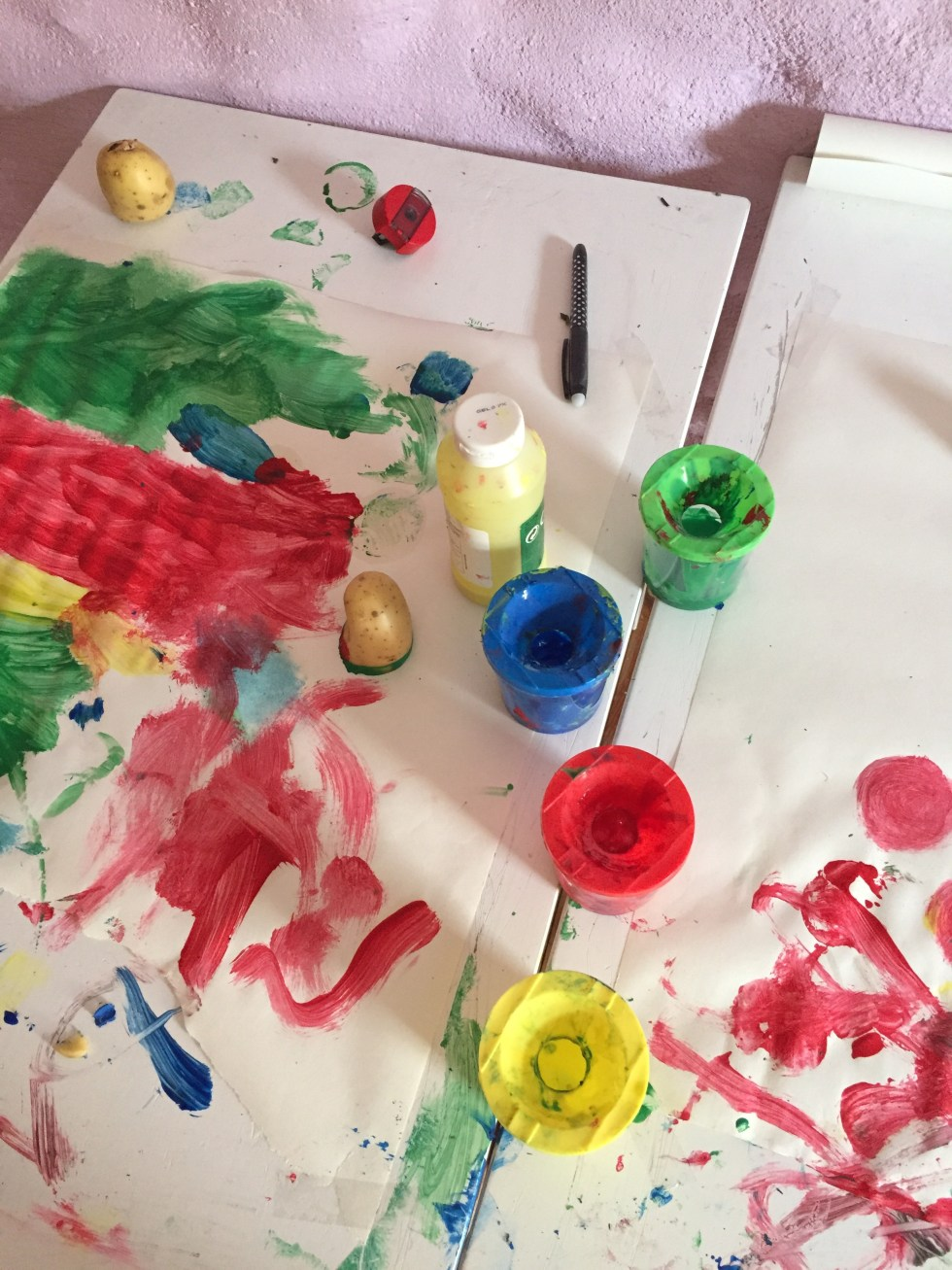 A picture of a kid's painting table