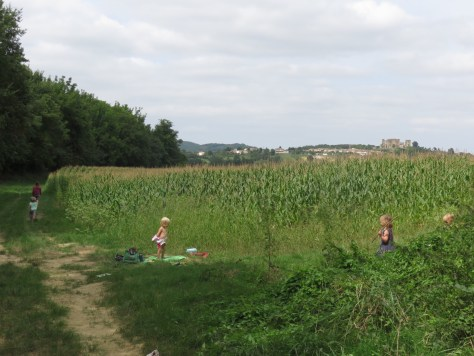 A field of corn (maize) with two children playing in the foreground and an adult and child walking away down the track. The village can be seen in the distance.