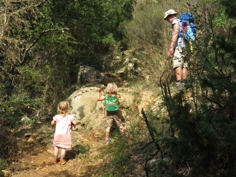 Two young children and an adult walking on a rocky path through the woods