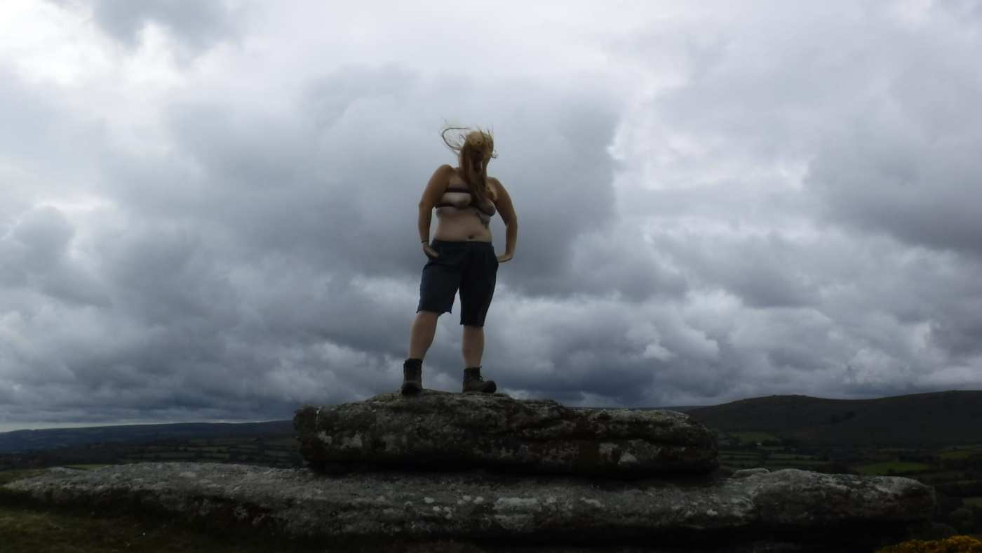Topless and bound lady with her hair being blown around for the post Wind Tor fro Boobday