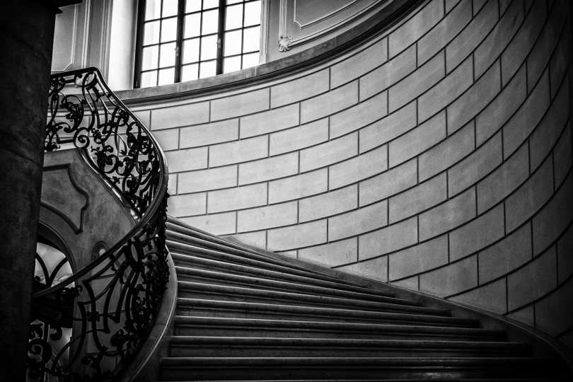 staircase in black and white for the post faith is taking the first step