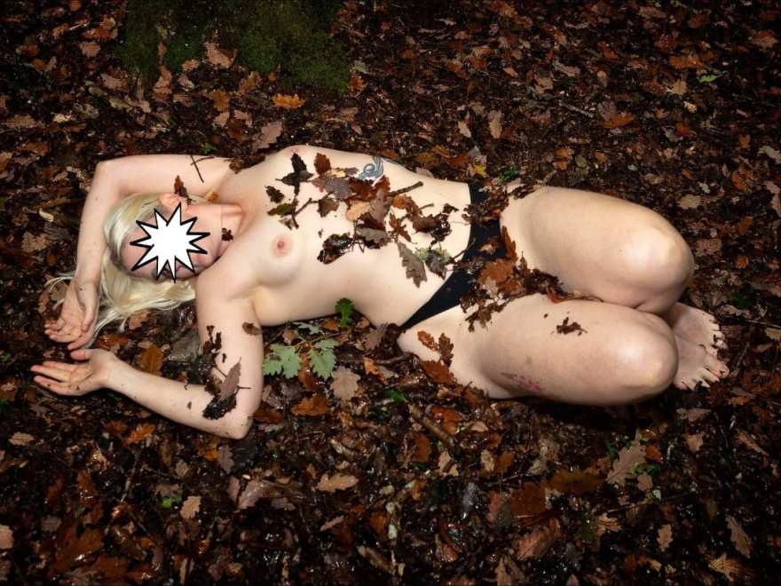 barefoot sub abandoned in the leaves, naked except for knickers
