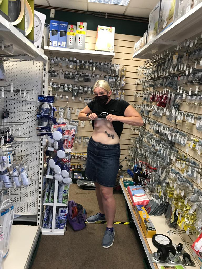 Traditional bank holiday weekend excursion to the hardware store, with exposed breasts