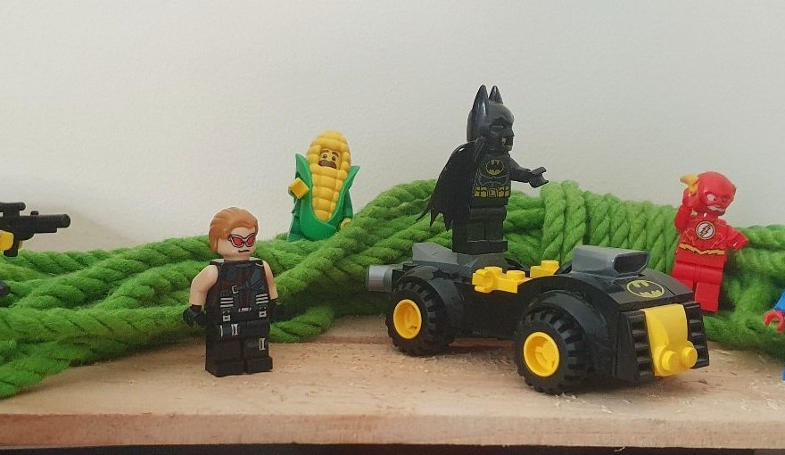 What is my superpower header image shows a selection of lego superheroes surrounded by a hank of green rope.