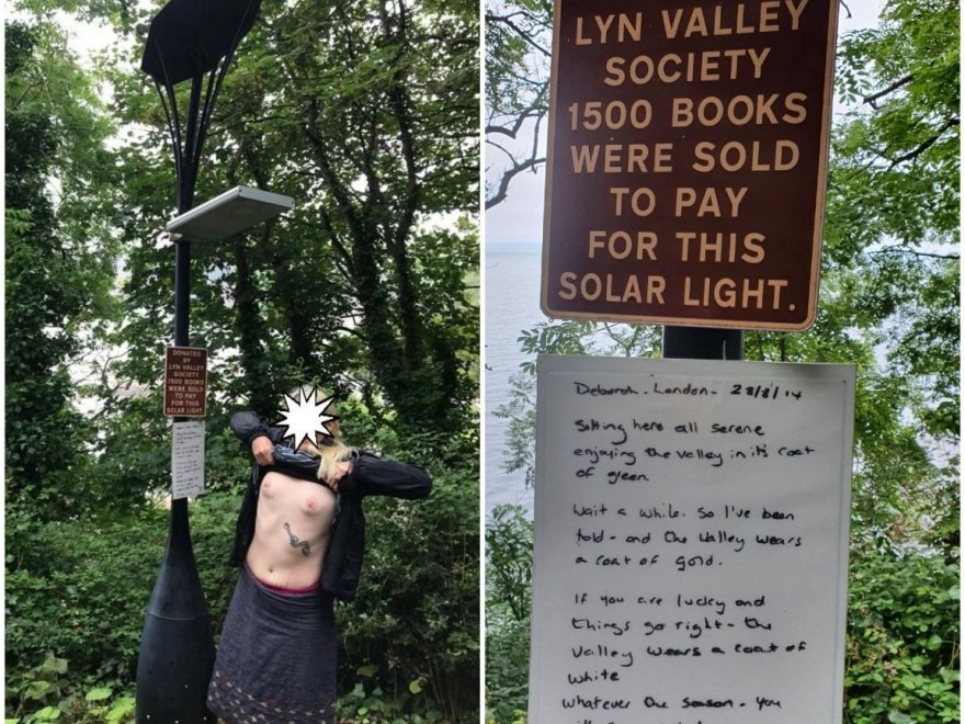 Underneath the streetlights shows a collage of images. The left side shows a woman pulling her top up to expose her breasts beneath a solar powered street lamp. The right image explains that the Lyn valley society sold 1500 books to raise funds for the light.