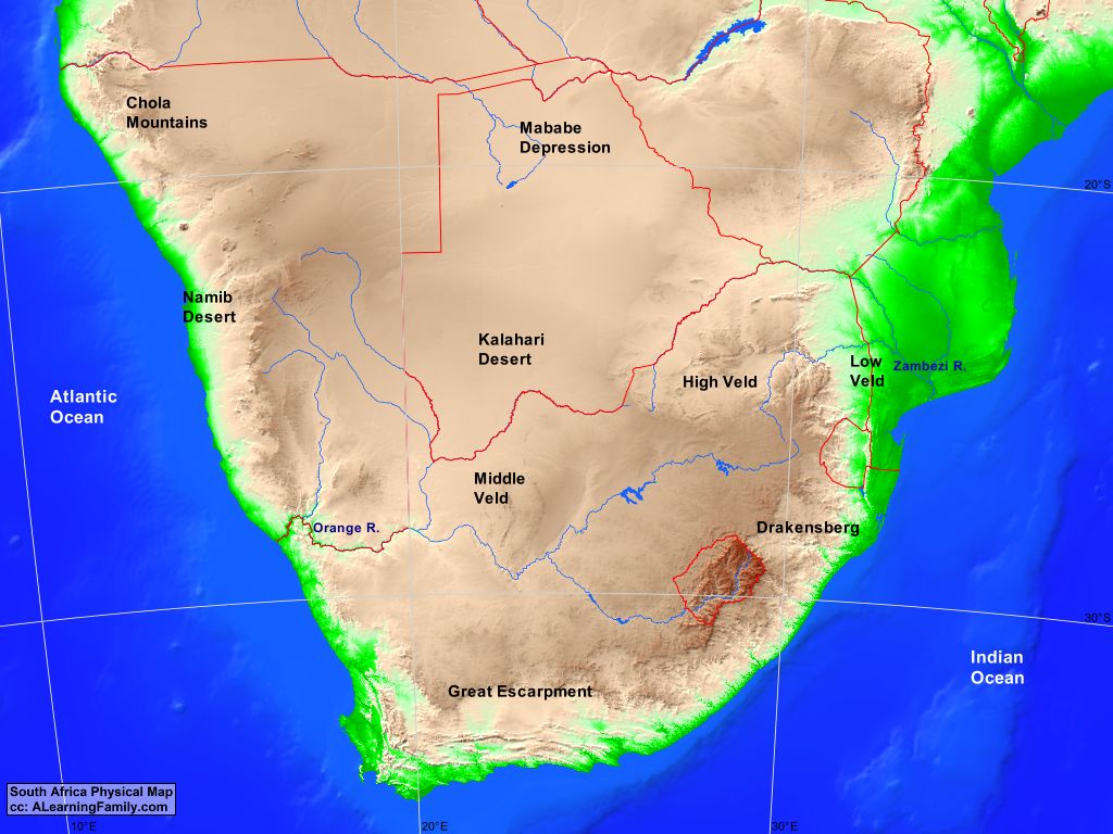 Southern Africa Physical Map