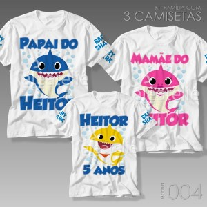 Kit 3 Camisetas Baby Shark 004