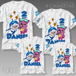 Kit 4 Camisetas Baby Shark