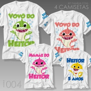 Kit 4 Camisetas Baby Shark 004
