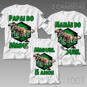 Kit 3 Camisetas Dinossauro 001