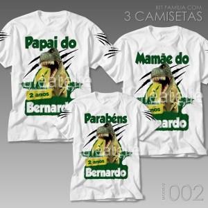 Kit 3 Camisetas Dinossauro Festa
