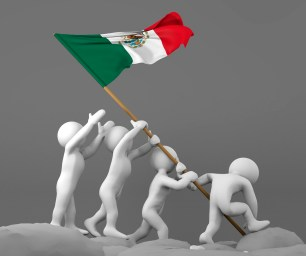Four characters holding Mexico flag imitating Iwo Jima scene
