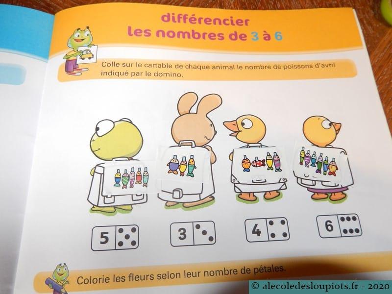Différencier les nombres de 3 à 6