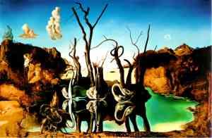 Cygnes reflétant des éléphants - Salvador Dali