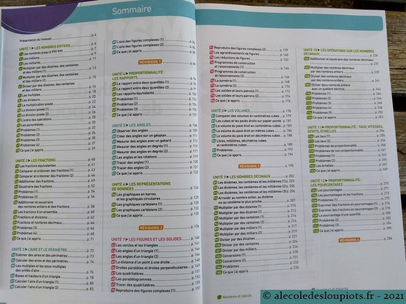 Sommaire manuel Méthode de Singapour CM2