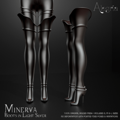 Minerva Boots in Light Silver