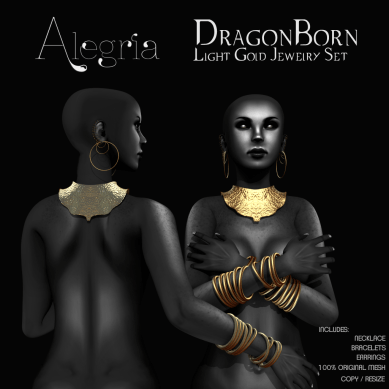 DragonBorn Jewelry Set in Light Gold (100% of the sales of this item will be donated to American Cancer Society)