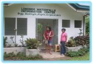 GMA 7 Segment Producer, Ms. Aileen Perez took a pose in the main door of Lumondo Falls Information Center with resident care taker, Ms. Daday Conde.