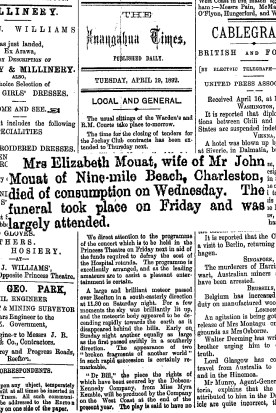 An article about stating that Mrs Elizabeth Mouat died of Consumption