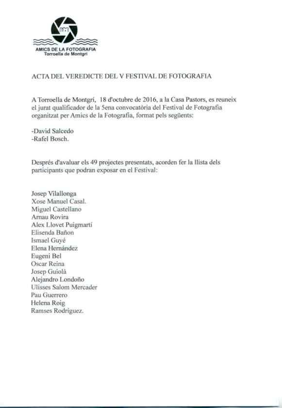 Acta del veredicto V festival Mirades de fotografía Torroella de Montgrí