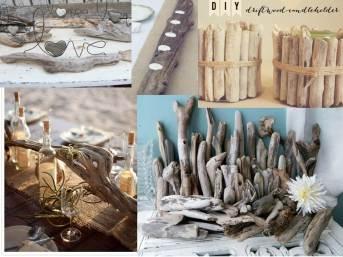 Driftwood adds a rustic element.