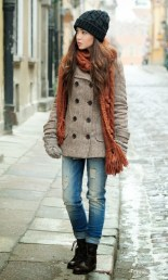 perfect winter outfits woolen hat knitted scarf and warm pea-coat women fashion galaxy-f59375