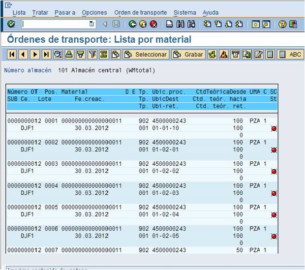 Orden de Transporte en SAP WM (Transfer Order) (2/2)
