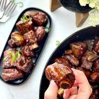 Honey-Garlic Braised Pork Riblets in Red Wine