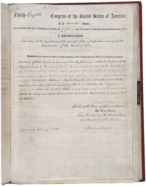 image de l'acte manuscrit signé du président Lincoln le 1er février 1865