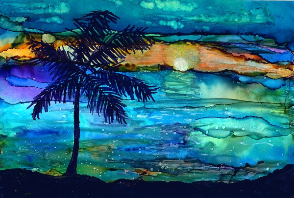 Alcohol Ink Painting Sunset