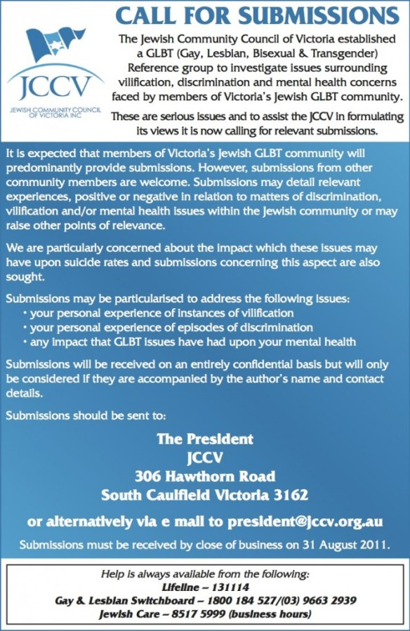 "Australian Jewish News Page 4 ""JCCV - Call for Submissions"" - July 29 2011"