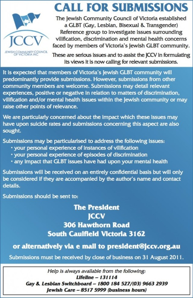 "JCCV ""GLBT Issues"" Call for Submissions July 29 2011"
