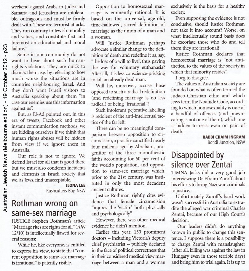 AJN Oct 19 2012 - Letter to Editor - Rabbi Chaim Ingram