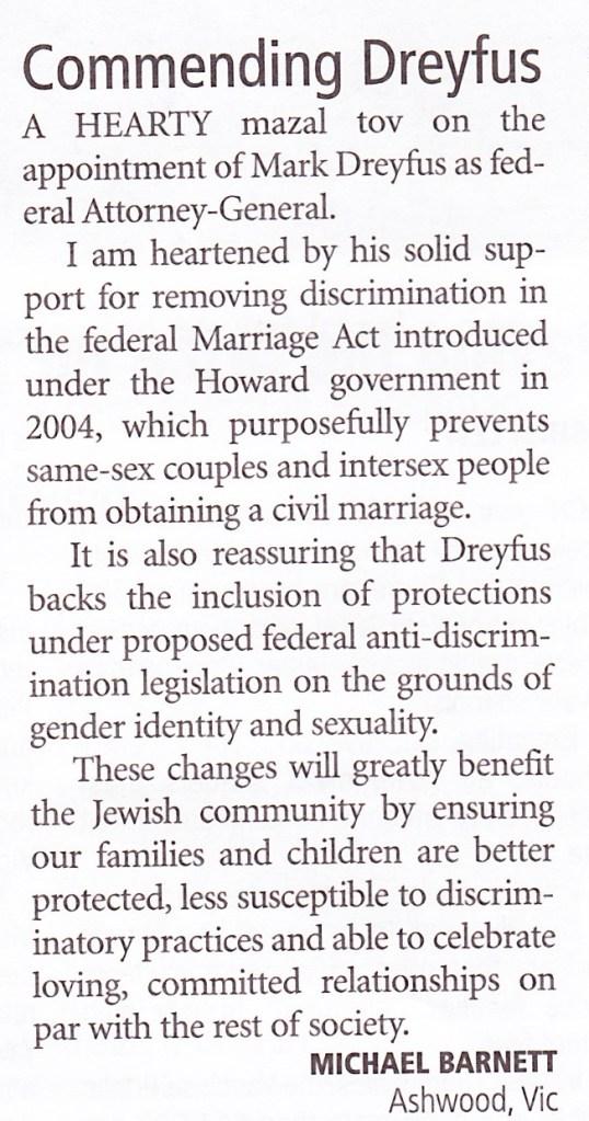 AJN 20130215 Letters: Commending Dreyfus
