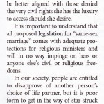 No threat from same sex marriage (2/2)