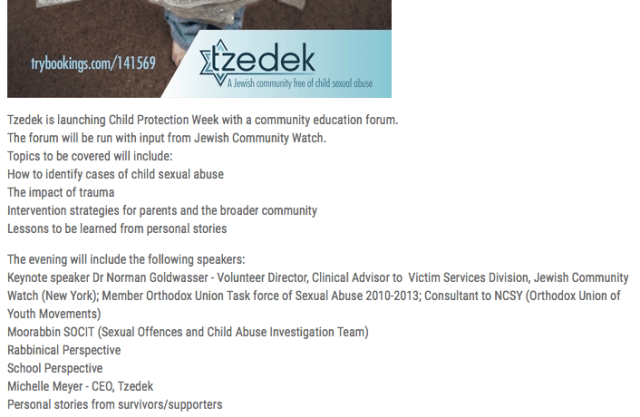 Tzedek forum promoting Norman Goldwasser as Keynote