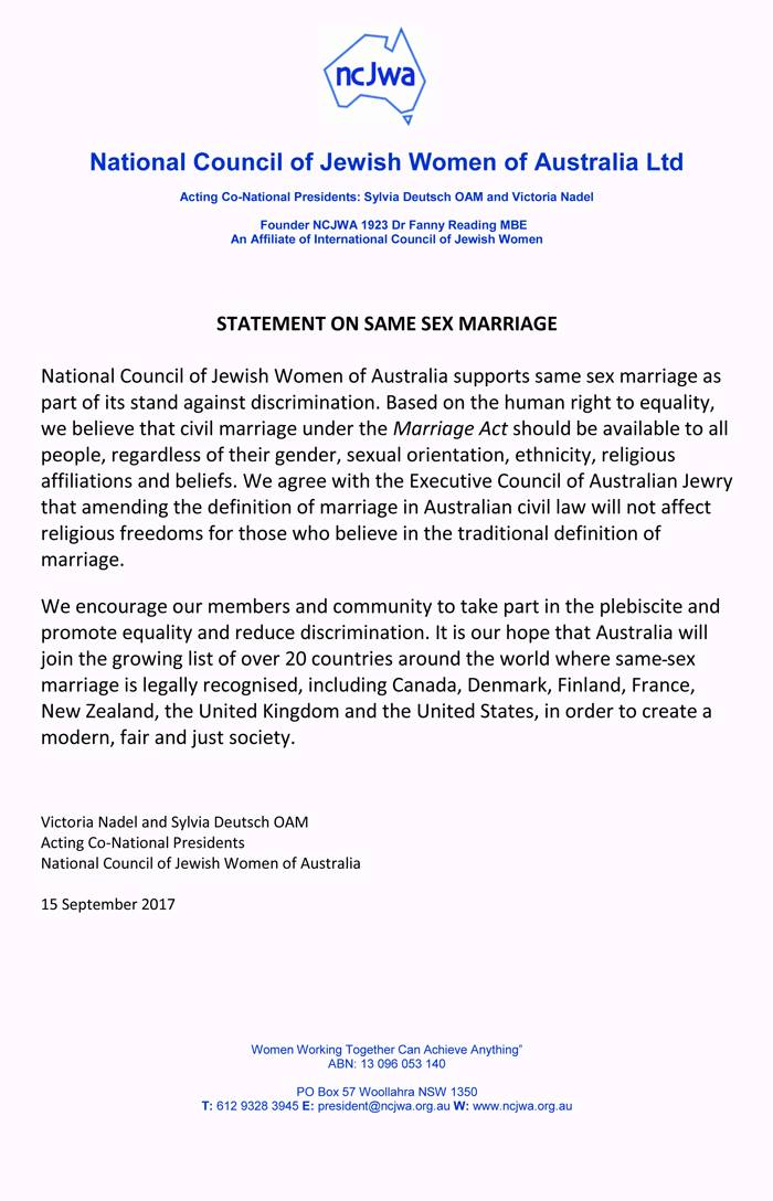 NCJWA Statement on Same Sex Marriage - 15 Sep 2017
