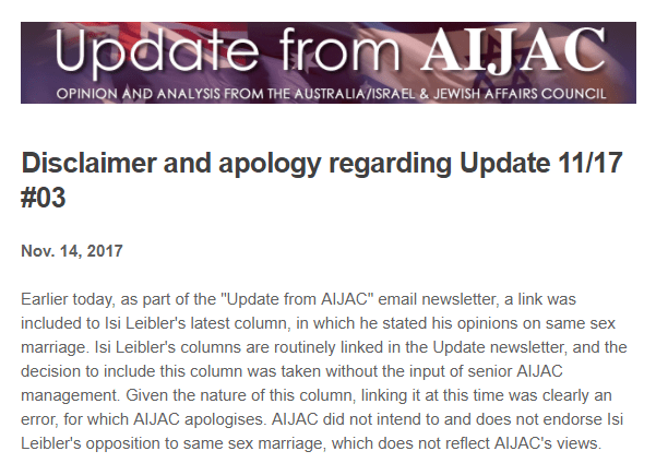 20171114 AIJAC distances itself from Isi Leibler on his toxic Marriage Equality views