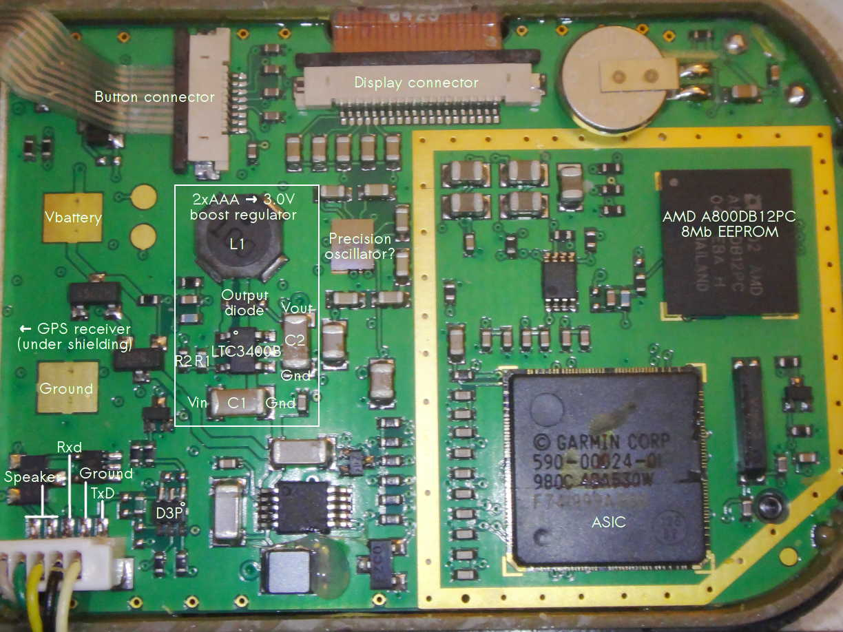 hight resolution of once you ve gotten the case open you ll see the circuit board with the gps receiver under the metal shielding interface circuitry in the middle