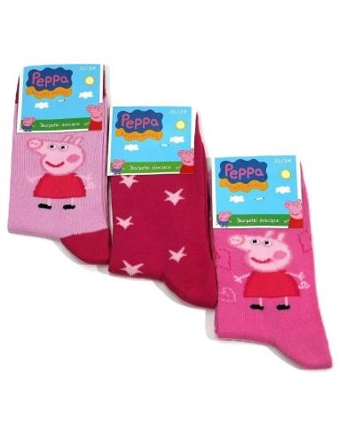 3 Calze corte Bimba Bambina PEPPA PIG cotone caldo Misura 3436