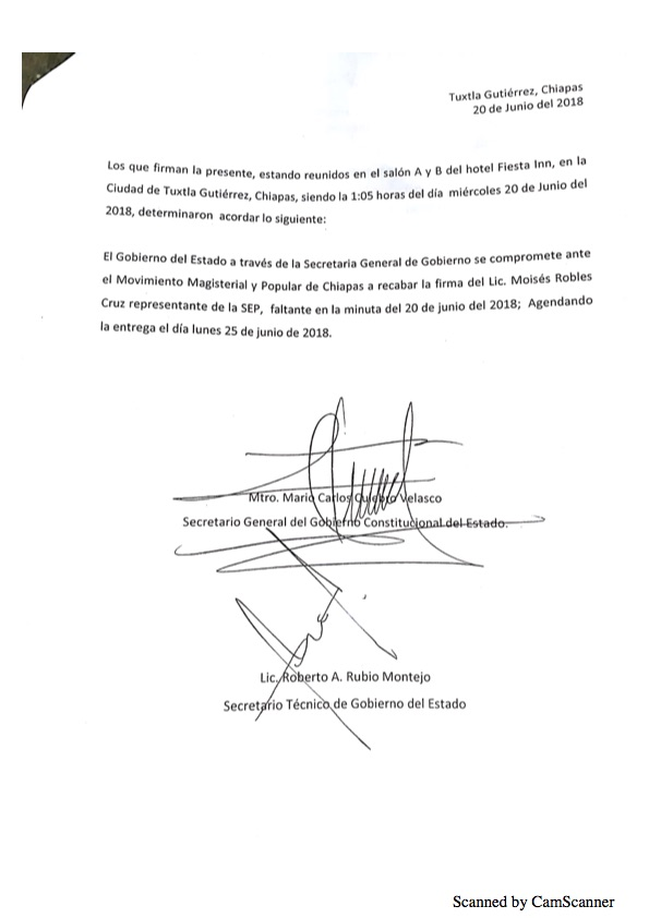 Luego de asegurarse que no serán evaluados, maestros de Chiapas levantan paro Minuta 20189