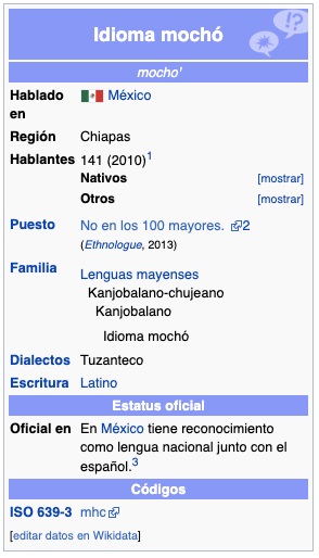 Sólo quedan 100 hablantes del mochó, lengua de Chiapas