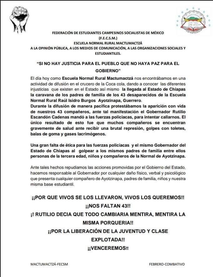Desalojan policías con gases a padres de 43 de Ayotzinapa en Chiapas WhatsApp Image 2020 02 16 at 12.50.31 PM
