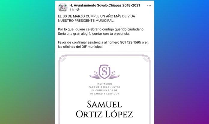 Promueve alcalde de Soyaló su fiesta de cumpleaños en face institucional 94391b8f 2015 4bad 9667 69a4d1a38ada