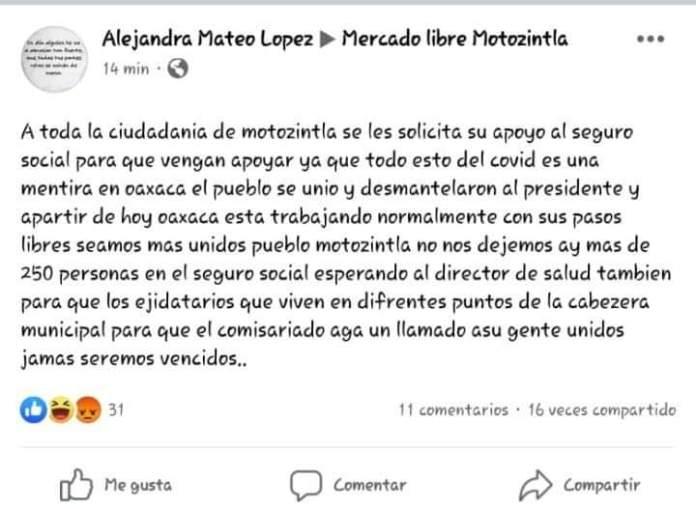 Revuelta en Motozintla por el COVID-19, urge intervención policial WhatsApp Image 2020 05 04 at 12.11.02 PM