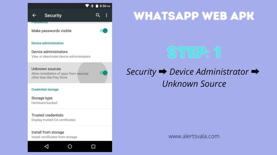 Enable Unknown Source in WhatsApp web Apk