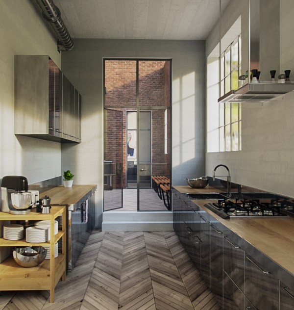 Corona Render 3d interior kitchen free download aleso3d
