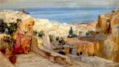 Tetti Frederick Arthur Bridgman Arab Women on a Rooftop, Algiers Beyond