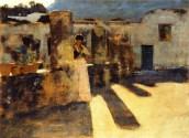 Tetti John Singer Sargent Ragazza di Capri sul Tetto 1878