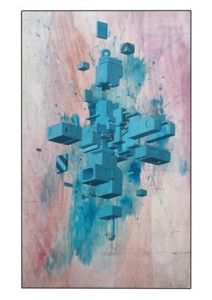 """MACHINARIUM"" - acrilics on wood 50x80 cm"